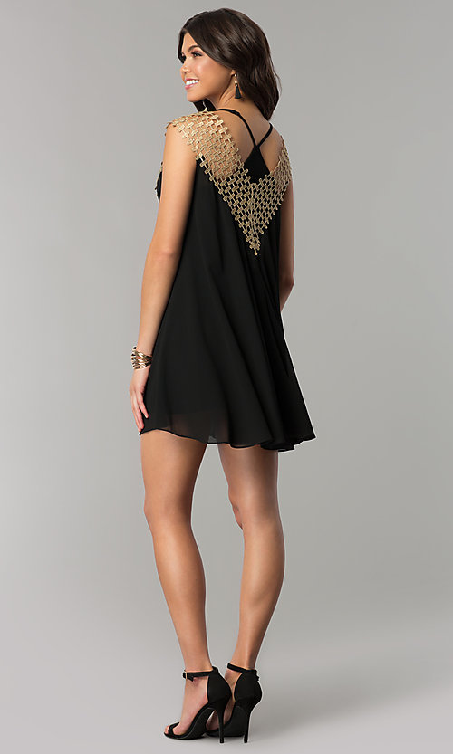 Image of black short shift holiday dress with crochet detail. Style: ESL-62026D-K Detail Image 3