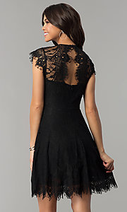 Image of illusion-lace short holiday dress with cap sleeves. Style: ESL-62055D-K Detail Image 3