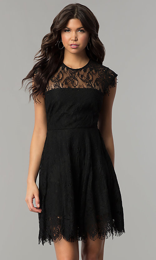 Image of illusion-lace short holiday dress with cap sleeves. Style: ESL-62055D-K Detail Image 2