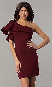 Ruffled One-Shoulder Semi-Formal Short Party Dress