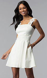 Image of short a-line ivory white grad dress with pockets. Style: ESL-62009D-K Front Image