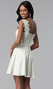 Image of short a-line ivory white grad dress with pockets. Style: ESL-62009D-K Back Image