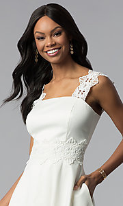 Image of short a-line ivory white grad dress with pockets. Style: ESL-62009D-K Detail Image 1
