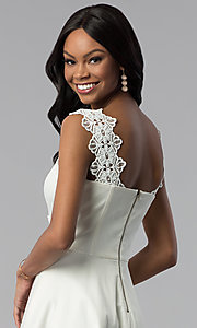 Image of short a-line ivory white grad dress with pockets. Style: ESL-62009D-K Detail Image 2