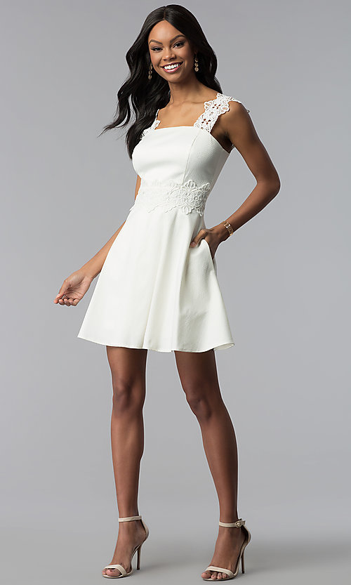 Image of short a-line ivory white grad dress with pockets. Style: ESL-62009D-K Detail Image 3