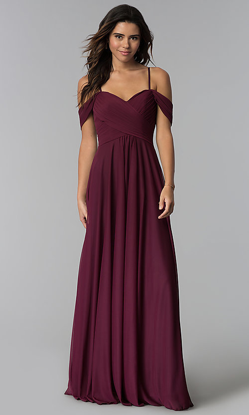 04dcd1b2241 Image of long pleated-bodice cold-shoulder bridesmaid dress. Style  NM-