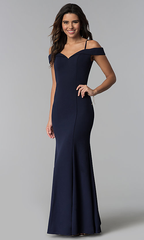 Off-the-Shoulder Long Navy Blue Bridesmaid Dress