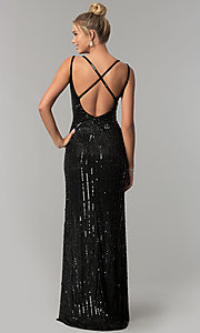 Image of long v-neck open-back sequin prom dress with slit. Style: PV-3010 Back Image