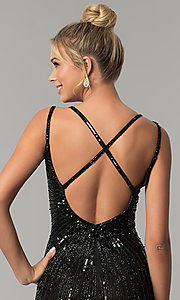 Image of long v-neck open-back sequin prom dress with slit. Style: PV-3010 Detail Image 2