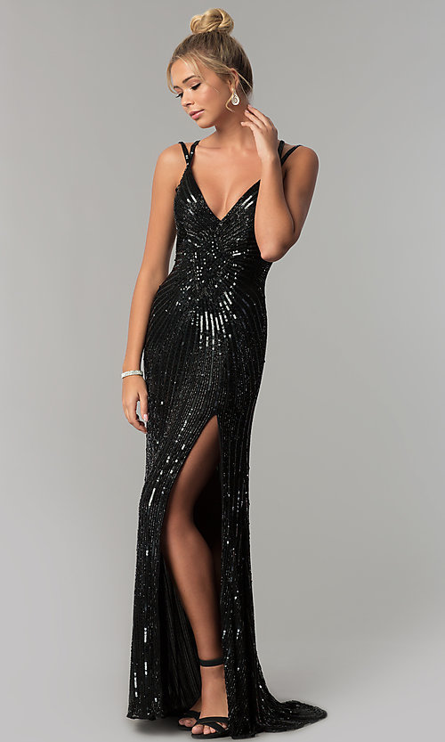 Image of long v-neck open-back sequin prom dress with slit. Style: PV-3010 Front Image