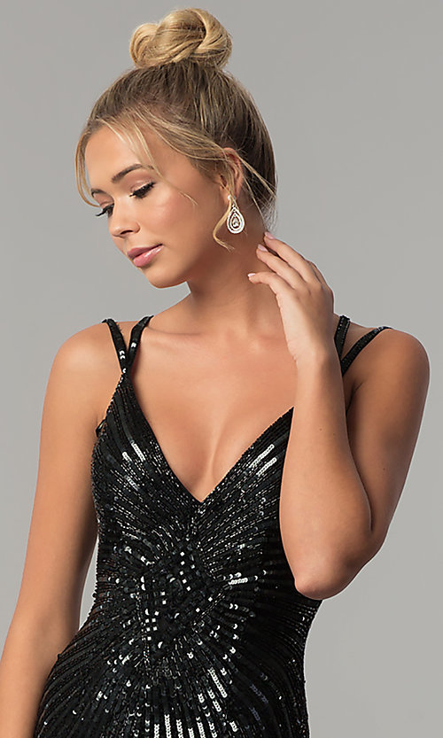 Image of long v-neck open-back sequin prom dress with slit. Style: PV-3010 Detail Image 1
