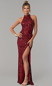 Image of high-neck Primavera sequin prom dress. Style: PV-3059 Front Image