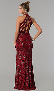 Image of high-neck Primavera sequin prom dress. Style: PV-3059 Back Image