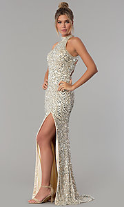 Image of high-neck Primavera sequin prom dress. Style: PV-3059 Detail Image 3