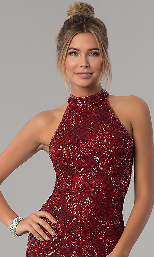 Image of high-neck Primavera sequin prom dress. Style: PV-3059 Detail Image 1