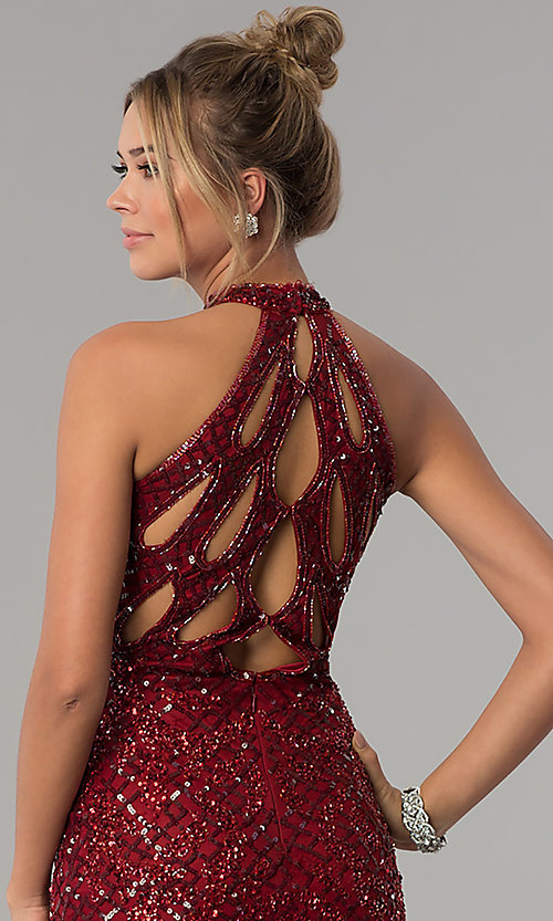 Image of high-neck Primavera sequin prom dress. Style: PV-3059 Detail Image 2