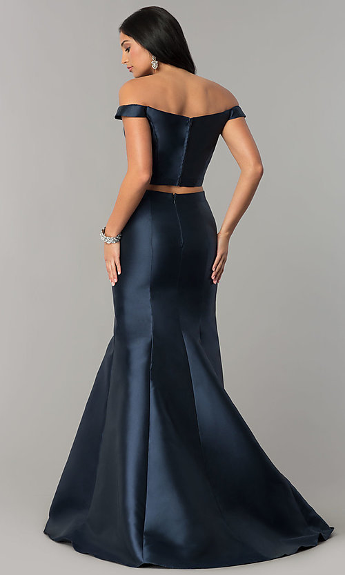 42beb2be Image of JVNX by Jovani off-shoulder two-piece navy prom dress. Style
