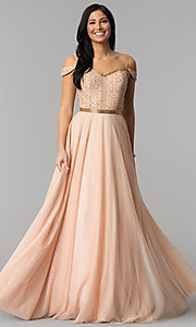Long Off-the-Shoulder Prom Dress with an Illusion Inset