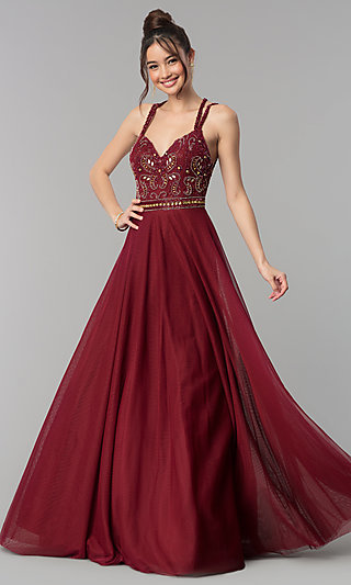 A-Line Open-Back Prom Dress with Criss-Cross Straps