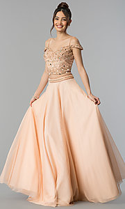 Long Shail K. Two-Piece Off-the-Shoulder Prom Dress