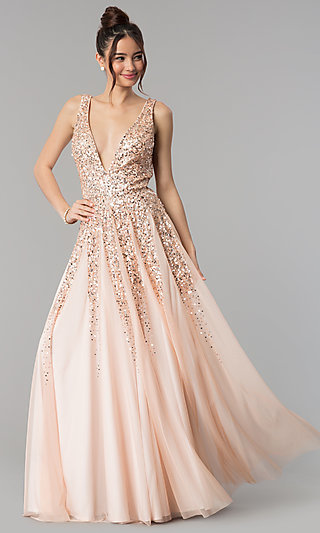 Open-Back Deep-V-Neck Tulle Prom Dress with Sequins