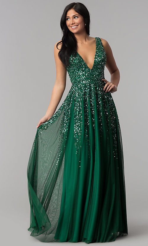 Image of open-back deep-v-neck tulle prom dress with sequins. Style: SK-12134 Front Image