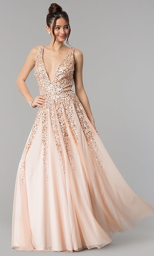 Image of open-back deep-v-neck tulle prom dress with sequins. Style: SK-12134 Detail Image 2