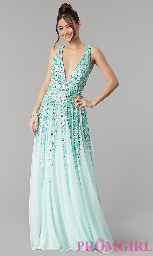 Image of open-back deep-v-neck tulle prom dress with sequins. Style: SK-12134 Detail Image 3