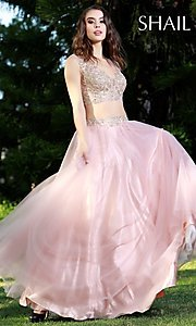 Long Rose Pink V-Neck Prom Dress by Shail K.