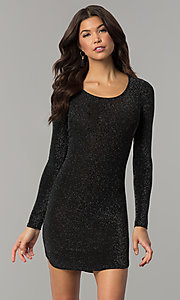 Image of sleeved short party dress in metallic jersey knit. Style: RO-R65882 Detail Image 2