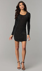 Image of sleeved short party dress in metallic jersey knit. Style: RO-R65882 Detail Image 3