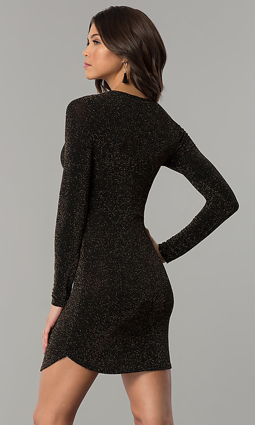 Image of sleeved short party dress in metallic jersey knit. Style: RO-R65882 Back Image