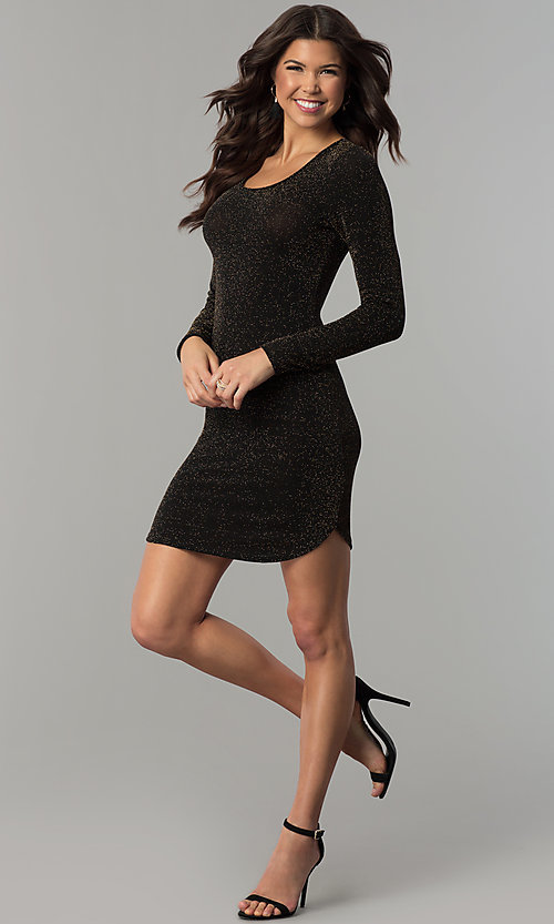 Image of sleeved short party dress in metallic jersey knit. Style: RO-R65882 Detail Image 1