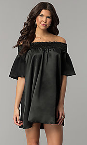 Image of short off-the-shoulder bell-sleeve shift party dress. Style: RO-R66163 Front Image