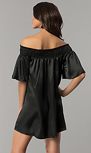Image of short off-the-shoulder bell-sleeve shift party dress. Style: RO-R66163 Back Image