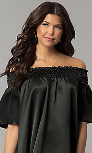 Image of short off-the-shoulder bell-sleeve shift party dress. Style: RO-R66163 Detail Image 1