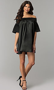 Image of short off-the-shoulder bell-sleeve shift party dress. Style: RO-R66163 Detail Image 2