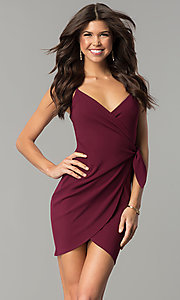 Short Tulip-Skirt V-Neck Wrap Party Dress