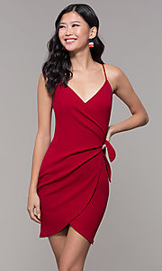 Image of short tulip-skirt v-neck wrap party dress. Style: BLU-BD8615-1 Front Image