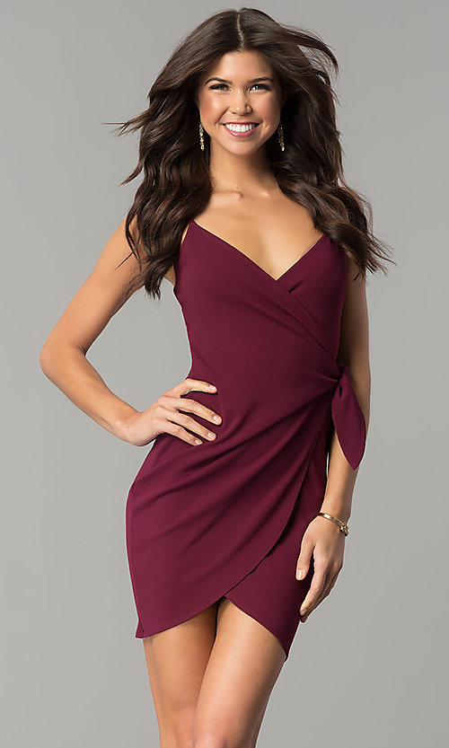 Image of short tulip-skirt v-neck wrap party dress. Style: BLU-BD8615-1 Detail Image 7