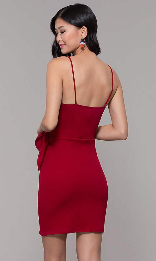 Image of short tulip-skirt v-neck wrap party dress. Style: BLU-BD8615-1 Detail Image 4
