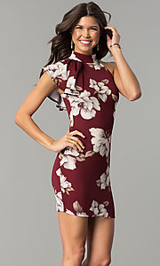 Floral-Print Burgundy Red Short Party Dress