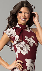 Image of floral-print burgundy red short party dress. Style: BLU-BD8133-4 Detail Image 1