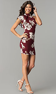 Image of floral-print burgundy red short party dress. Style: BLU-BD8133-4 Detail Image 3