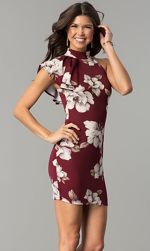 Image of floral-print burgundy red short party dress. Style: BLU-BD8133-4 Front Image