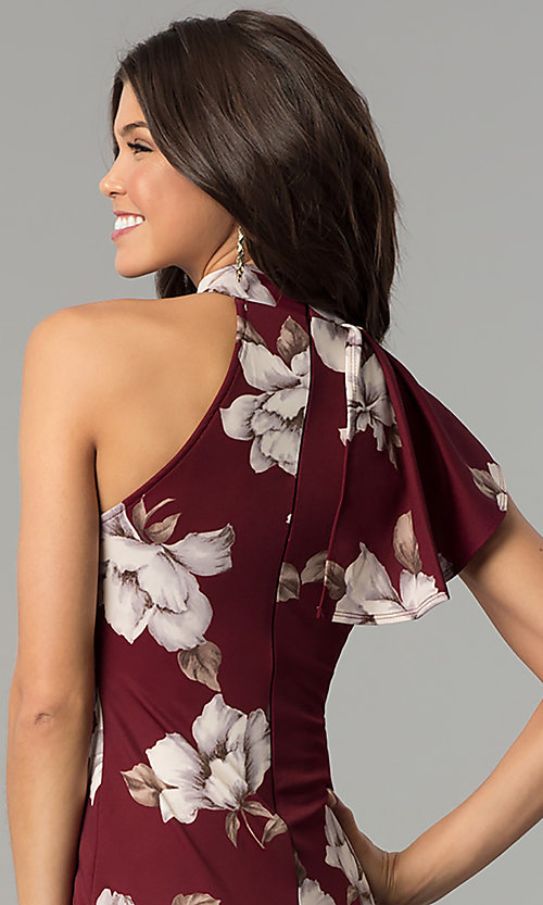 Image of floral-print burgundy red short party dress. Style: BLU-BD8133-4 Detail Image 2