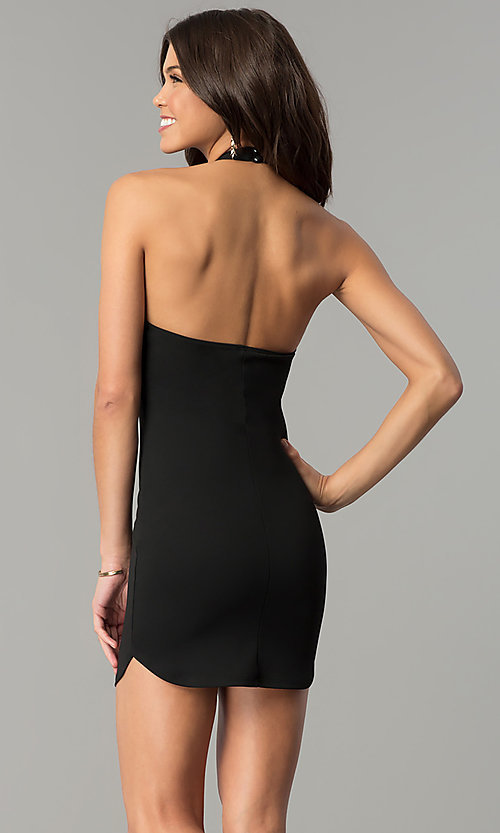 Image of short black v-neck embroidered halter party dress. Style: BLU-BD8592-1 Back Image