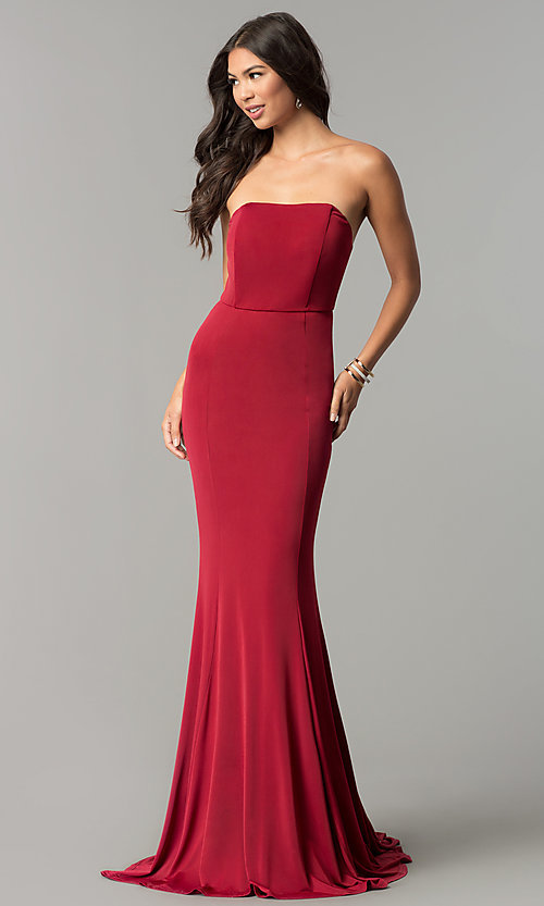 Image of strapless long prom dress with long train. Style: LT-LD6658H Front Image