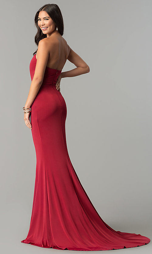 Image of strapless long prom dress with long train. Style: LT-LD6658H Back Image