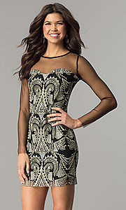 Image of short black party dress with gold embroidered print. Style: LT-LD6734S Front Image